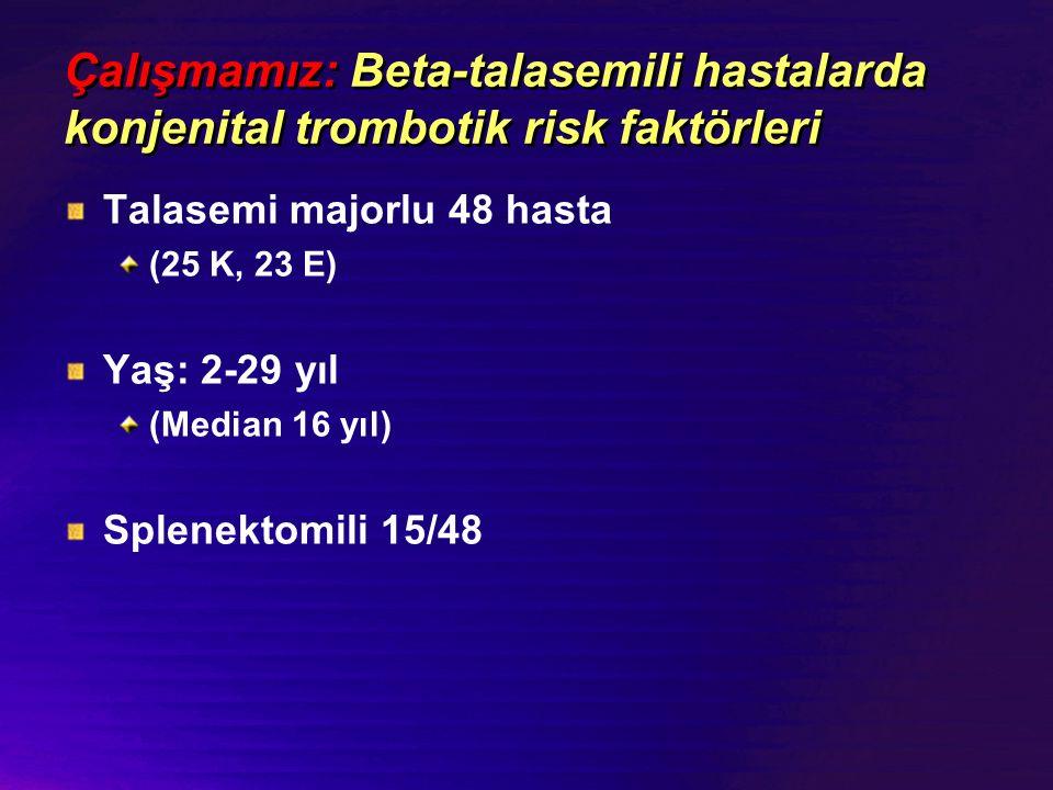 Çalışmamız: Beta-talasemili hastalarda konjenital trombotik risk faktörleri