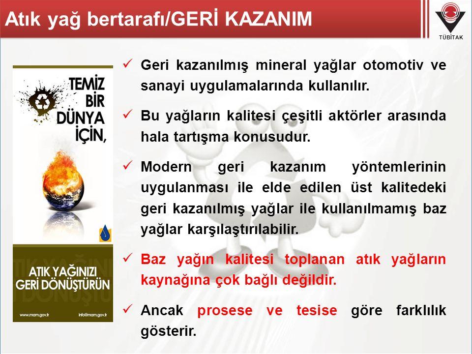 Atık yağ bertarafı/GERİ KAZANIM