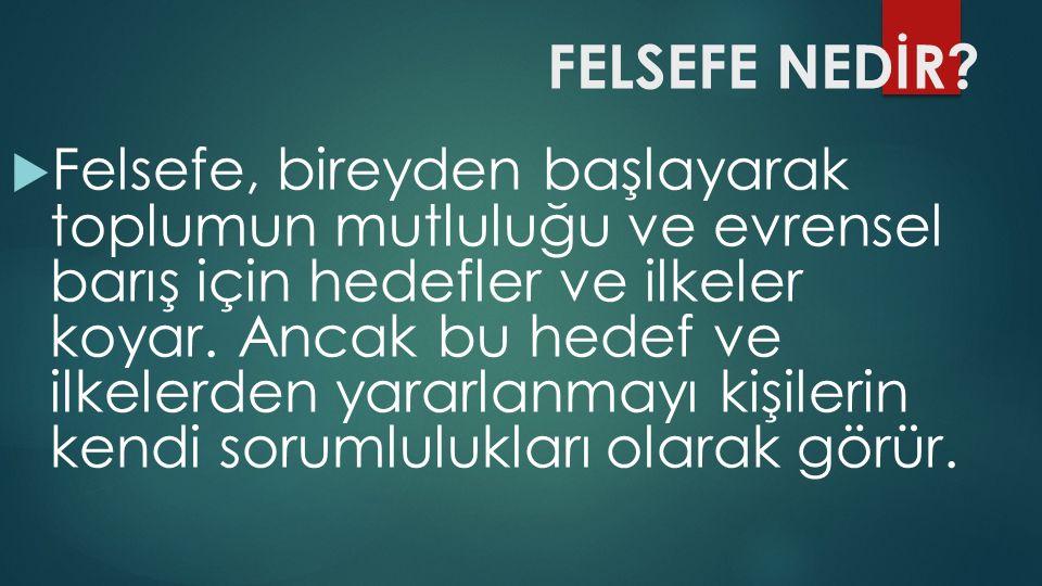 FELSEFE NEDİR