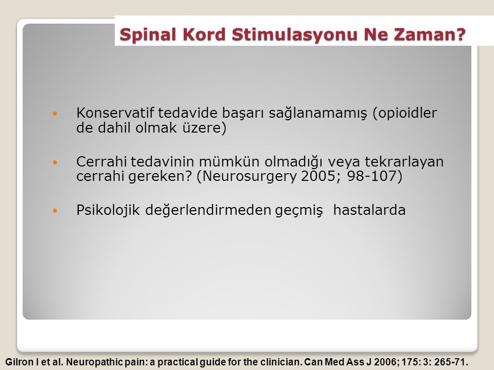 Spinal Kord Stimulasyonu Ne Zaman