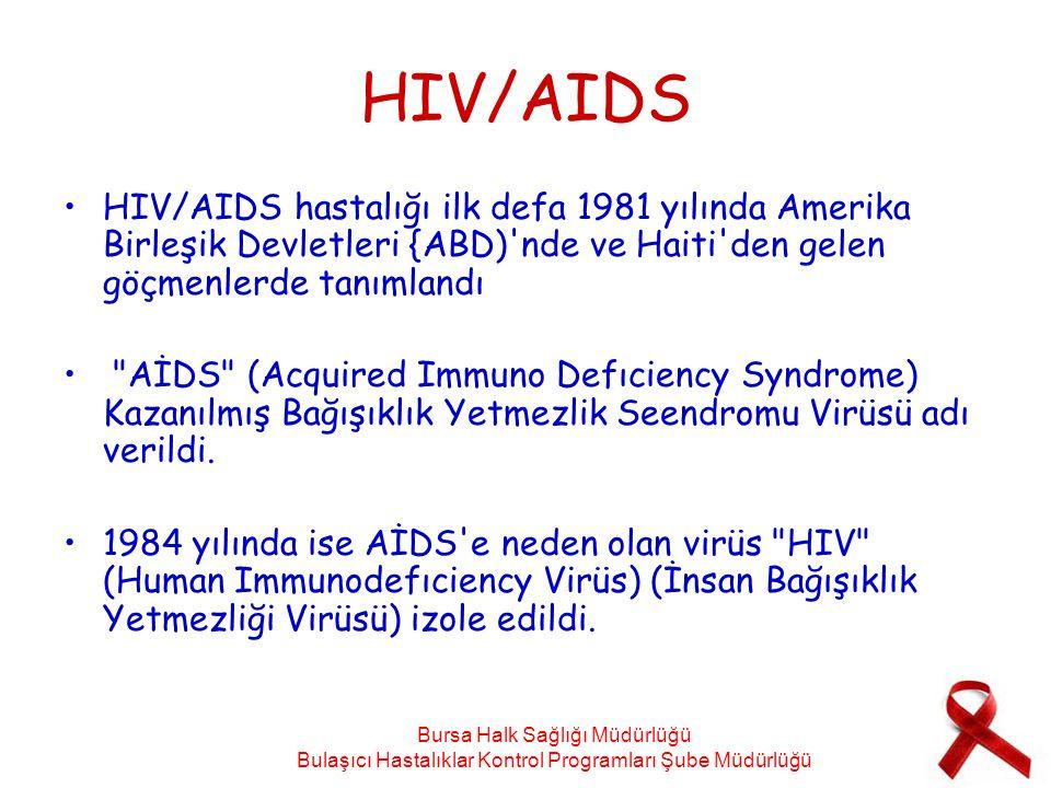 HIV/AIDS HIV/AIDS hastalığı ilk defa 1981 yılında Amerika Birleşik Devletleri {ABD) nde ve Haiti den gelen göçmenlerde tanımlandı.