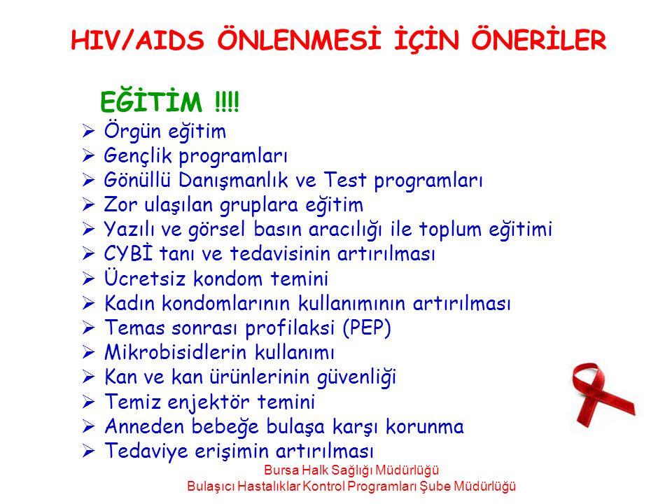 HIV/AIDS ÖNLENMESİ İÇİN ÖNERİLER