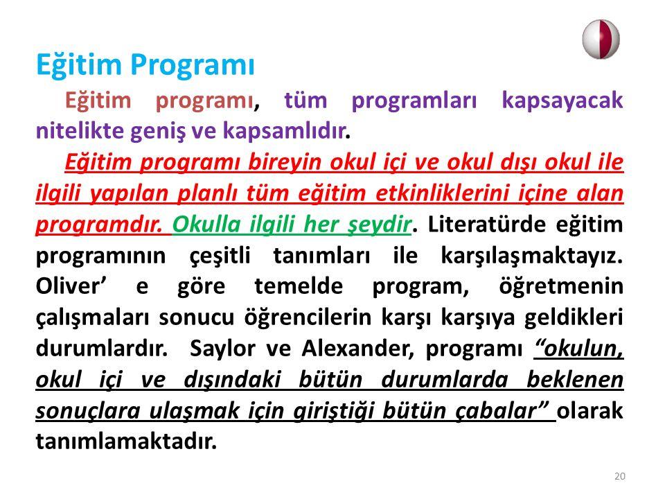 Eğitim Programı Eğitim programı, tüm programları kapsayacak nitelikte geniş ve kapsamlıdır.