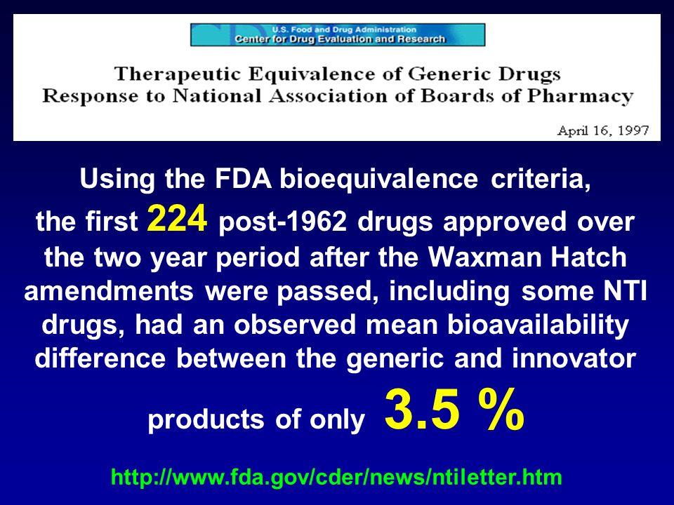 Using the FDA bioequivalence criteria,