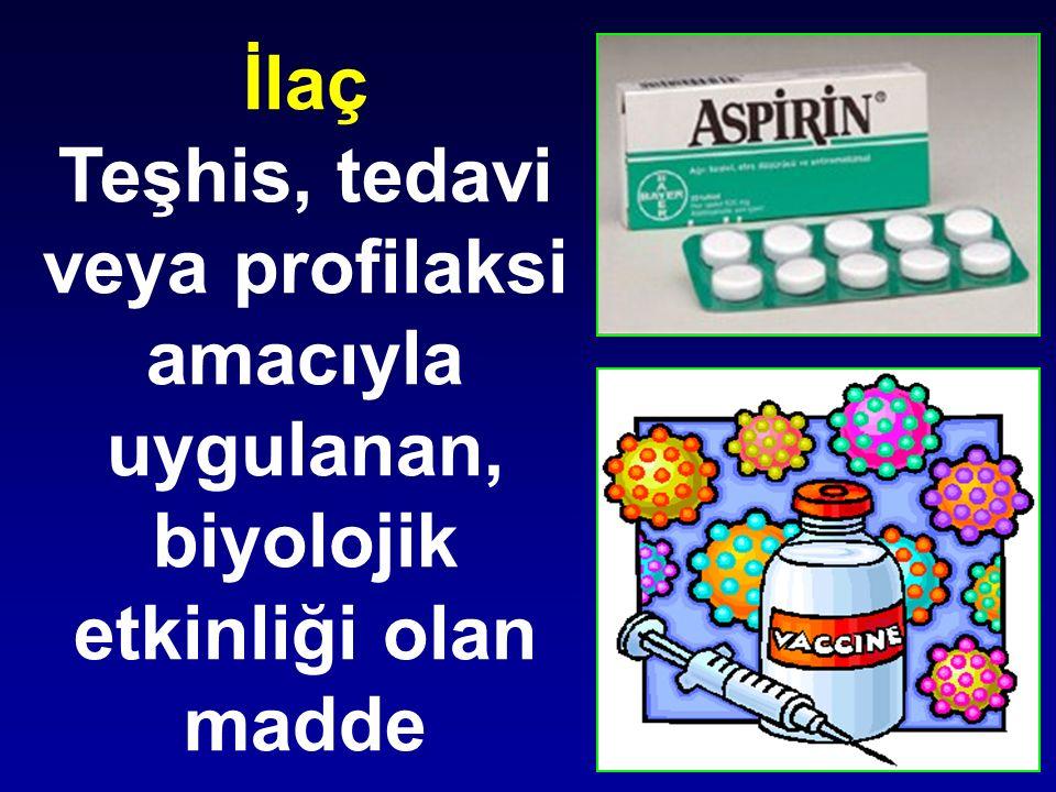 Teşhis, tedavi veya profilaksi amacıyla uygulanan,
