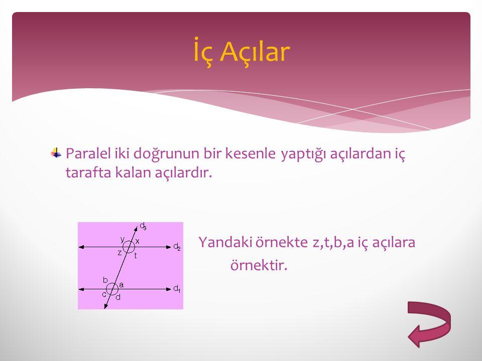 İç Açılar Paralel iki doğrunun bir kesenle yaptığı açılardan iç tarafta kalan açılardır. Yandaki örnekte z,t,b,a iç açılara.