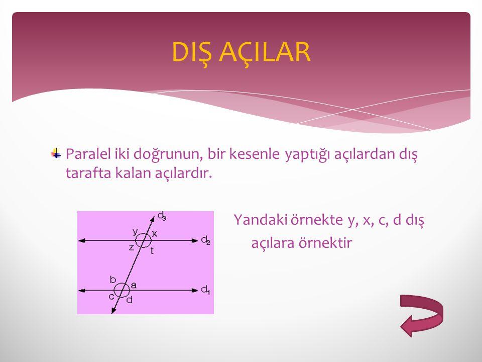 DIŞ AÇILAR Paralel iki doğrunun, bir kesenle yaptığı açılardan dış tarafta kalan açılardır. Yandaki örnekte y, x, c, d dış.