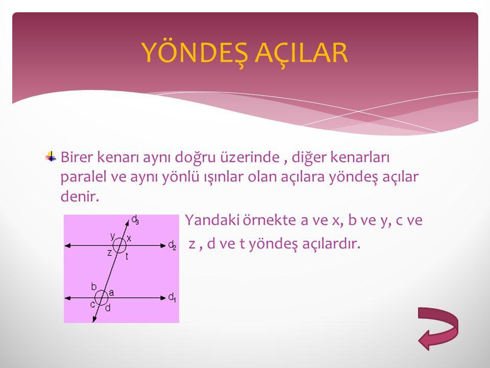 YÖNDEŞ AÇILAR Birer kenarı aynı doğru üzerinde , diğer kenarları paralel ve aynı yönlü ışınlar olan açılara yöndeş açılar denir.