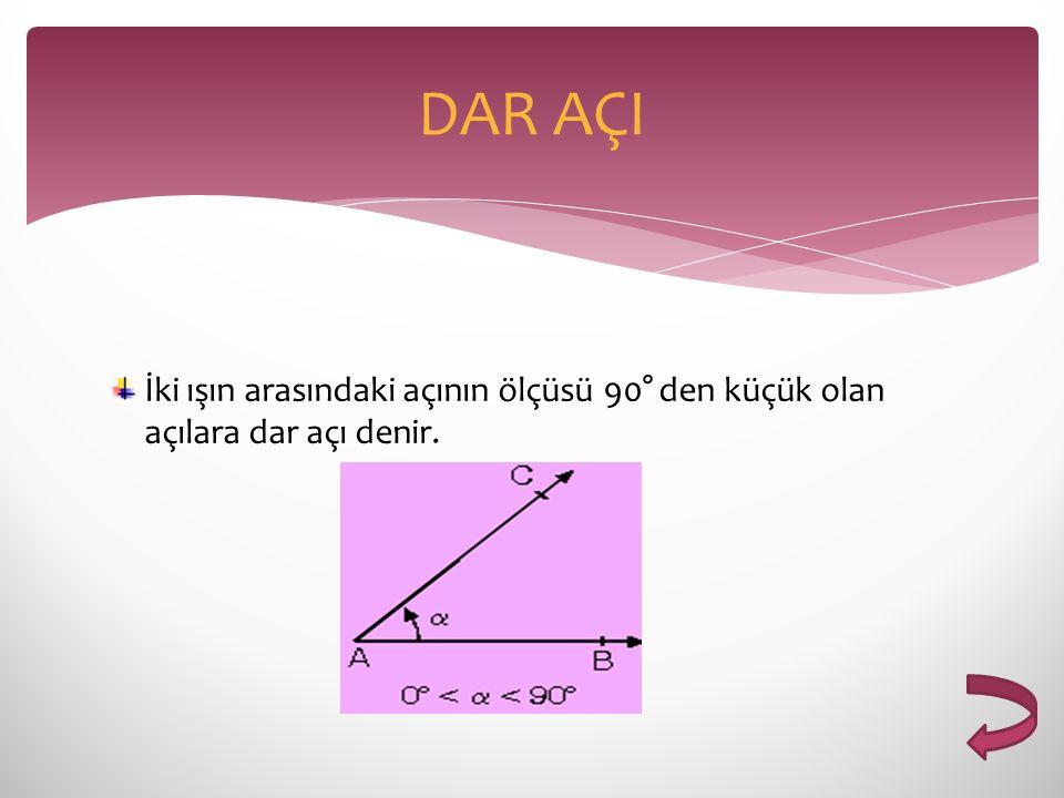 DAR AÇI İki ışın arasındaki açının ölçüsü 90° den küçük olan açılara dar açı denir.