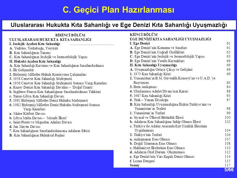 C. Geçici Plan Hazırlanması