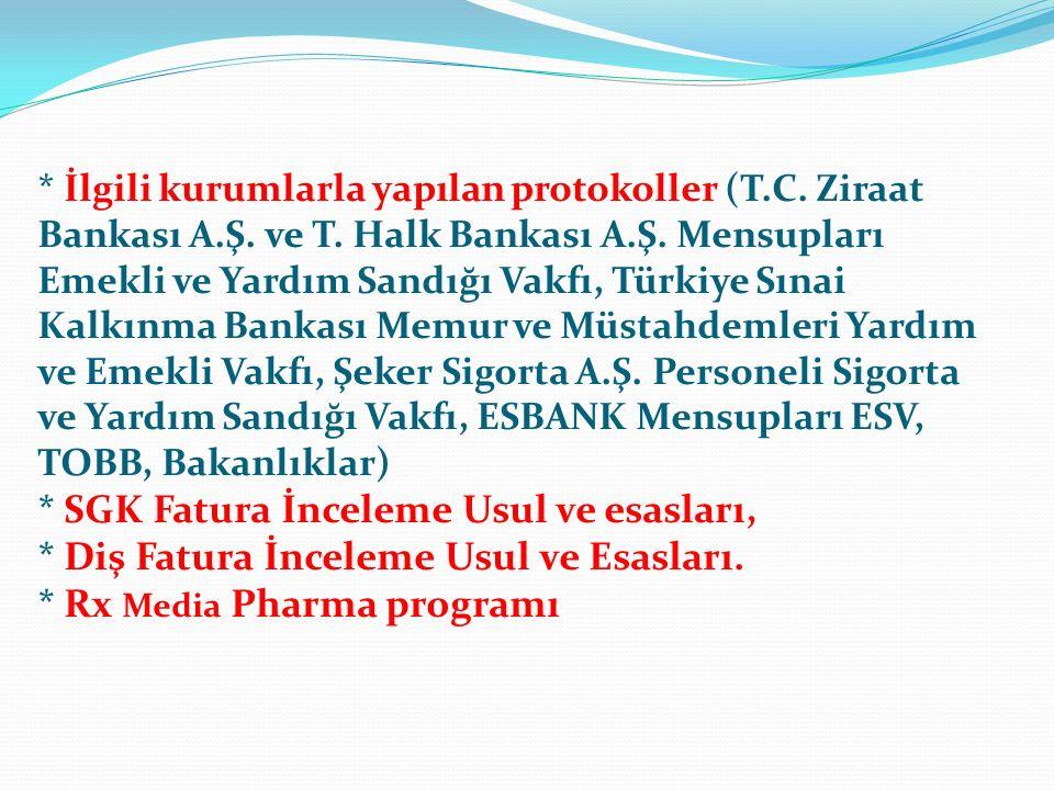 İlgili kurumlarla yapılan protokoller (T. C. Ziraat Bankası A. Ş. ve T