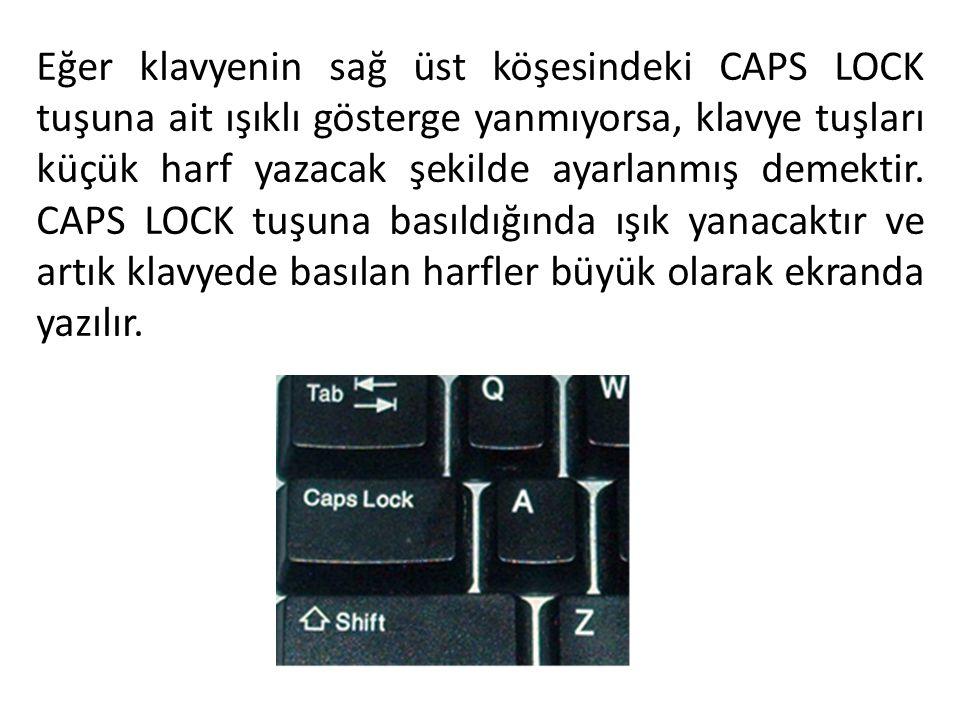 Eğer klavyenin sağ üst köşesindeki CAPS LOCK tuşuna ait ışıklı gösterge yanmıyorsa, klavye tuşları küçük harf yazacak şekilde ayarlanmış demektir.