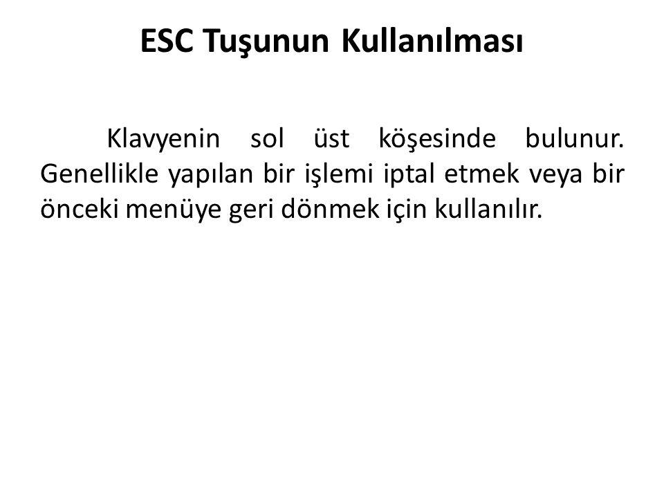 ESC Tuşunun Kullanılması