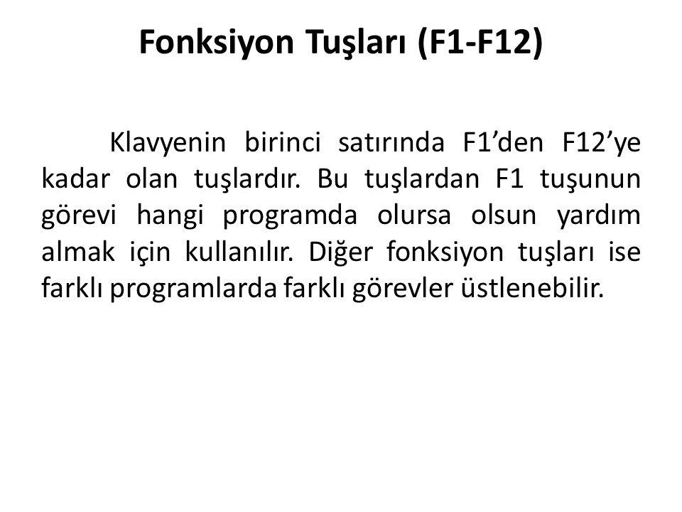Fonksiyon Tuşları (F1-F12)