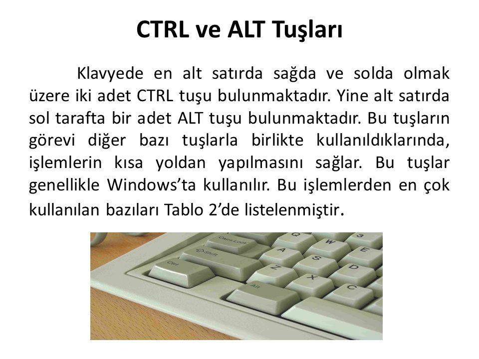 CTRL ve ALT Tuşları