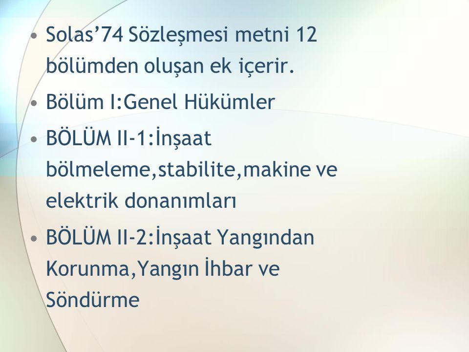Solas'74 Sözleşmesi metni 12 bölümden oluşan ek içerir.
