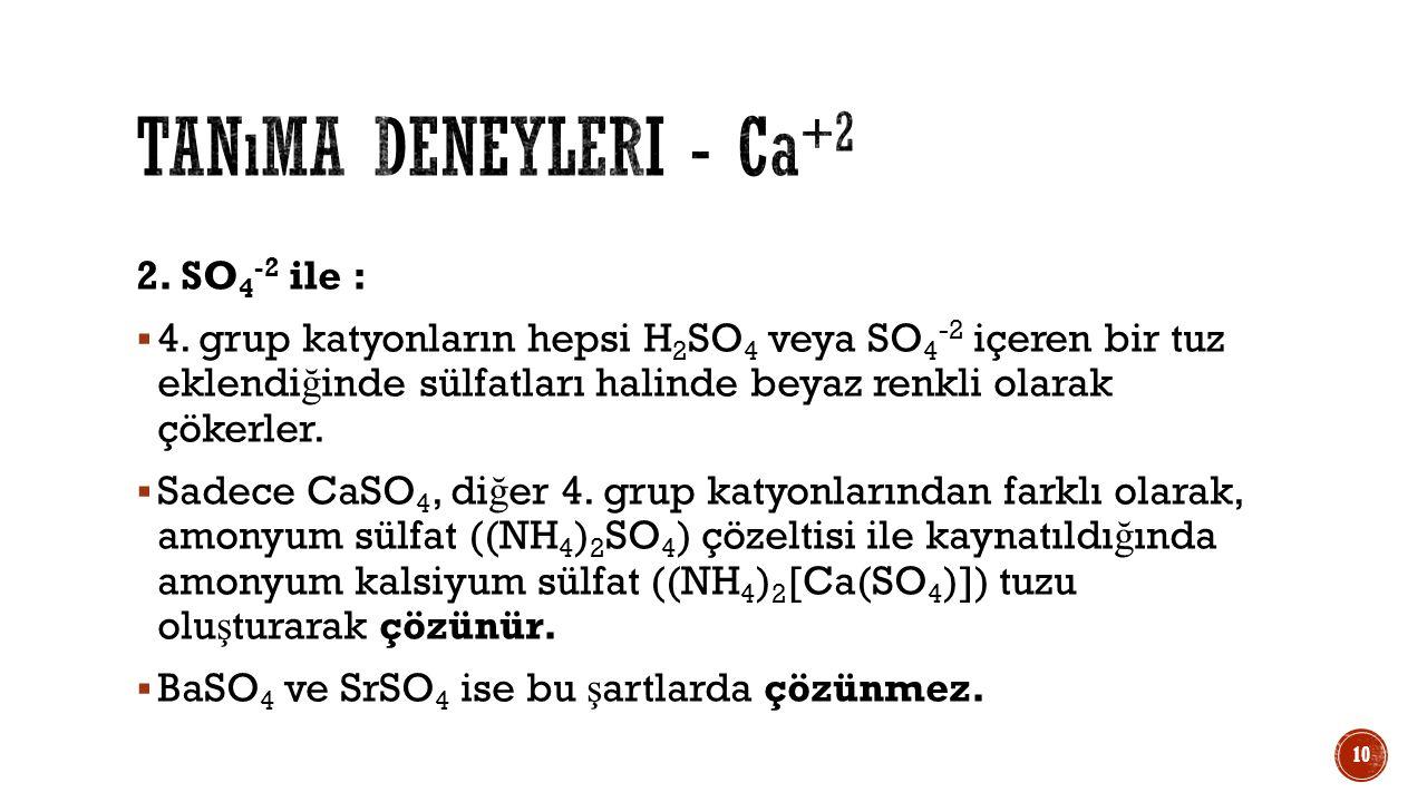 Tanıma deneyleri - Ca+2 2. SO4-2 ile :