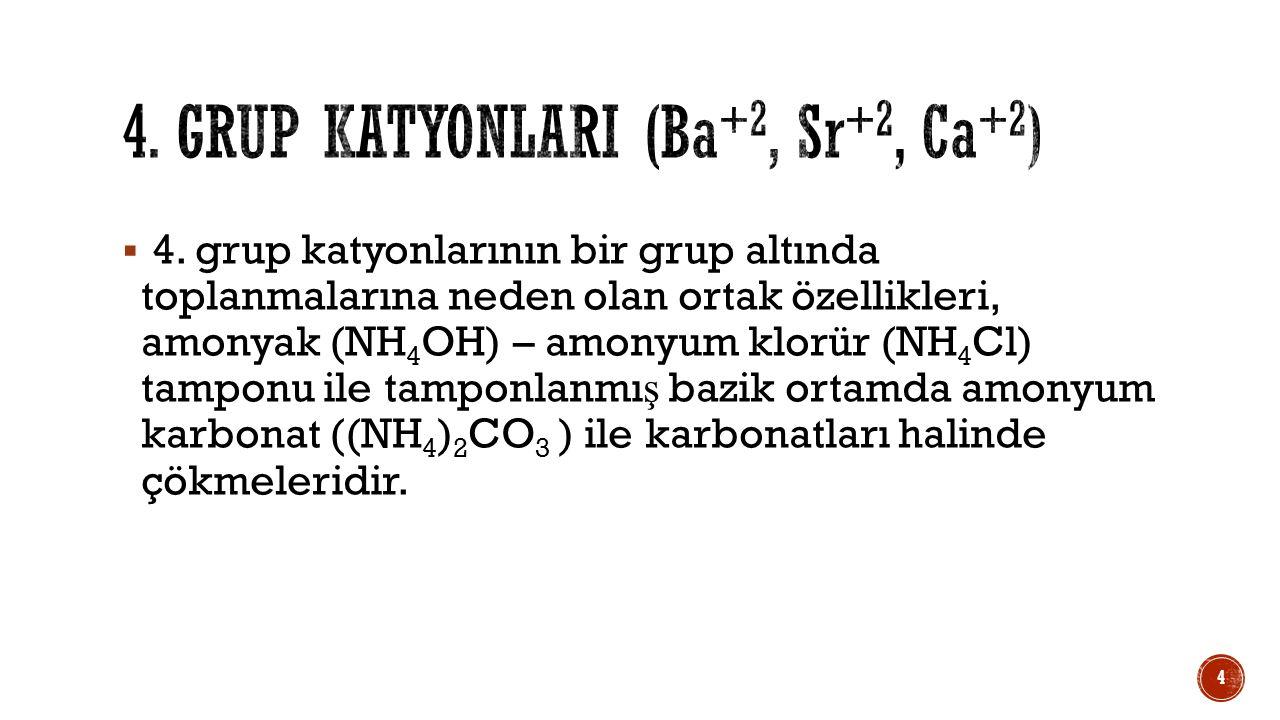 4. Grup katyonlarI (Ba+2, Sr+2, Ca+2)