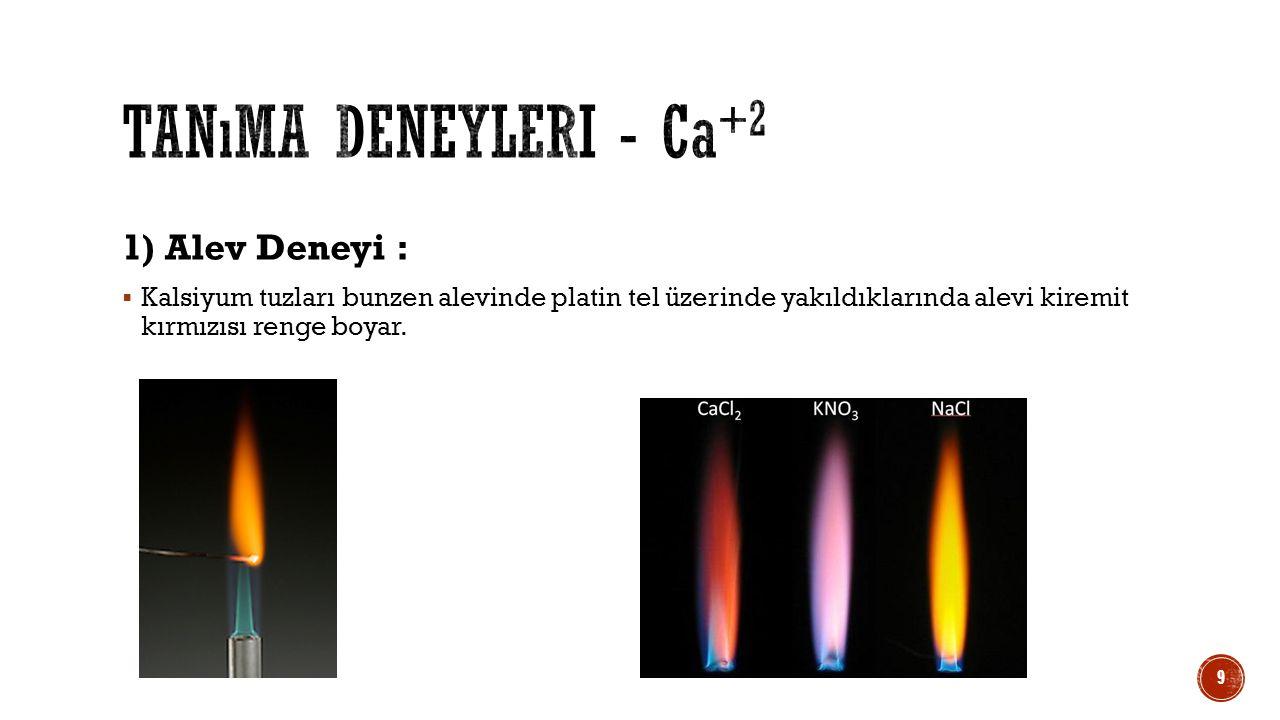 Tanıma deneyleri - Ca+2 1) Alev Deneyi :