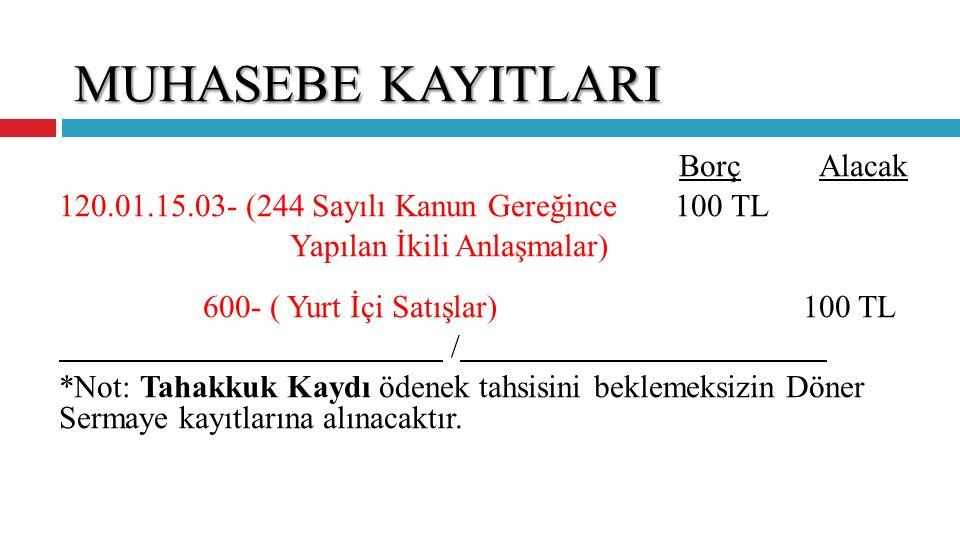 MUHASEBE KAYITLARI 120.01.15.03- (244 Sayılı Kanun Gereğince 100 TL
