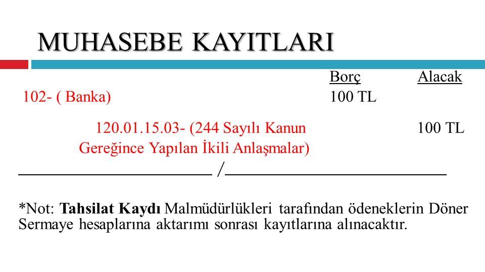 MUHASEBE KAYITLARI 102- ( Banka) 100 TL