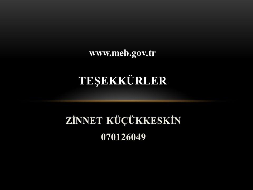 www.meb.gov.tr TEŞEKKÜRLER ZİNNET KÜÇÜKKESKİN 070126049