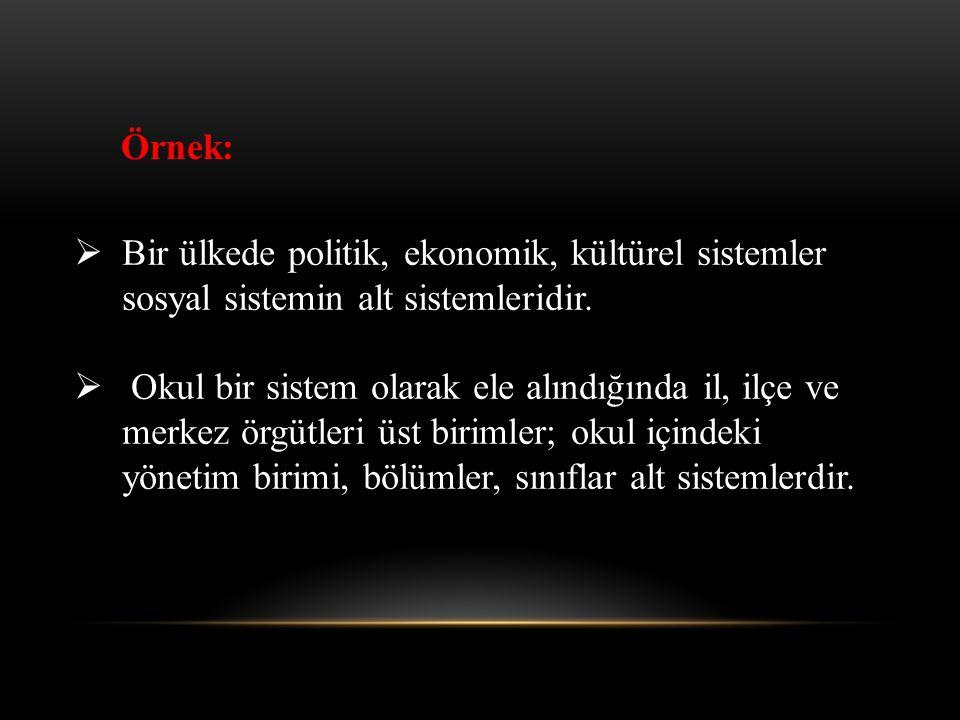 Örnek: Bir ülkede politik, ekonomik, kültürel sistemler sosyal sistemin alt sistemleridir.