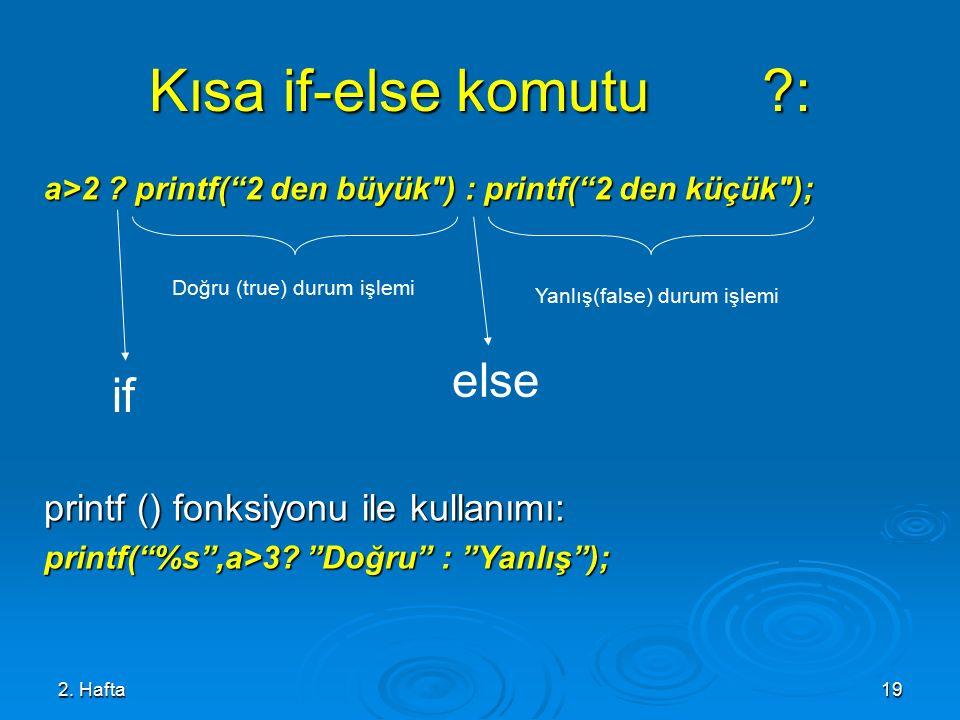 Kısa if-else komutu : else if printf () fonksiyonu ile kullanımı:
