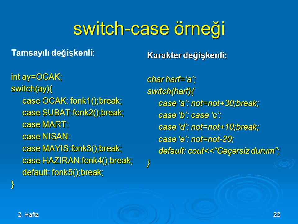 switch-case örneği Tamsayılı değişkenli: Karakter değişkenli: