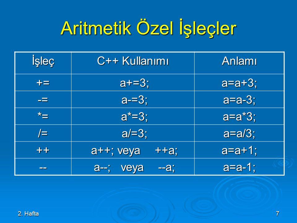 Aritmetik Özel İşleçler