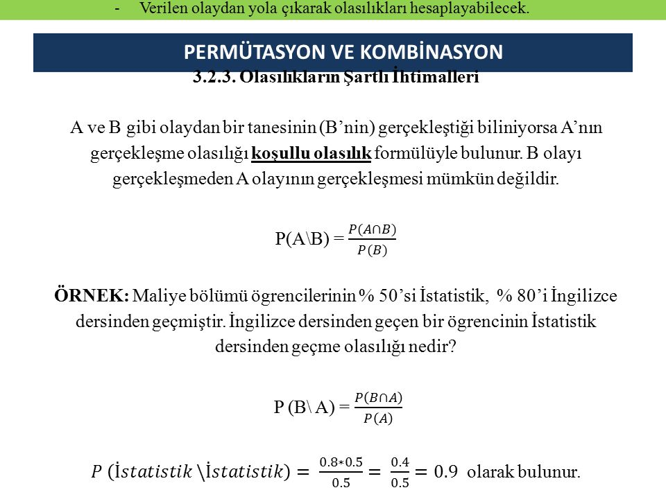 PERMÜTASYON VE KOMBİNASYON