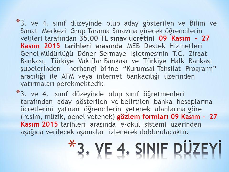 3. ve 4. sınıf düzeyinde olup aday gösterilen ve Bilim ve Sanat Merkezi Grup Tarama Sınavına girecek öğrencilerin velileri tarafından 35.00 TL sınav ücretini 09 Kasım - 27 Kasım 2015 tarihleri arasında MEB Destek Hizmetleri Genel Müdürlüğü Döner Sermaye İşletmesinin T.C. Ziraat Bankası, Türkiye Vakıflar Bankası ve Türkiye Halk Bankası şubelerinden herhangi birine Kurumsal Tahsilat Programı aracılığı ile ATM veya internet bankacılığı üzerinden yatırmaları gerekmektedir.