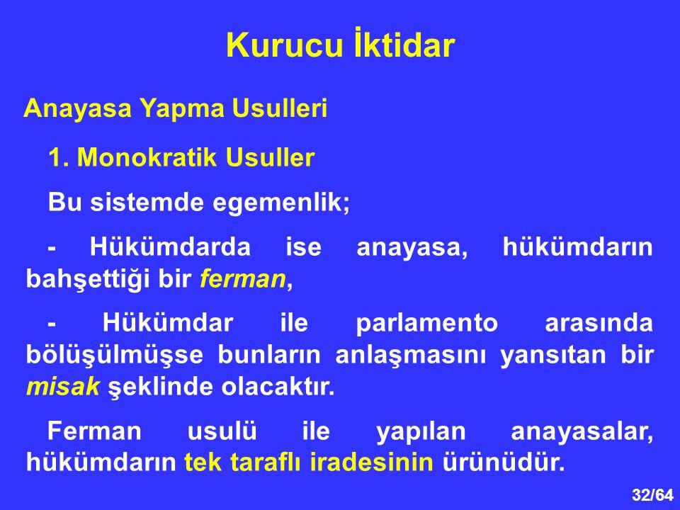 Kurucu İktidar Anayasa Yapma Usulleri 1. Monokratik Usuller