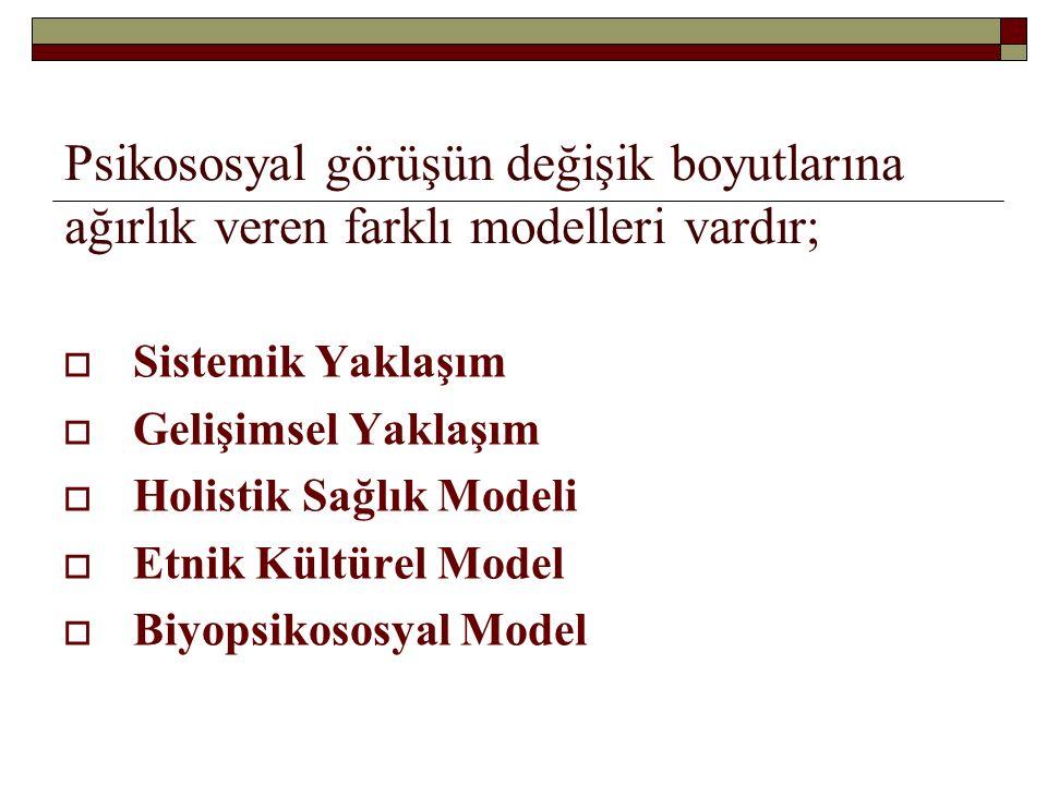 Psikososyal görüşün değişik boyutlarına ağırlık veren farklı modelleri vardır;