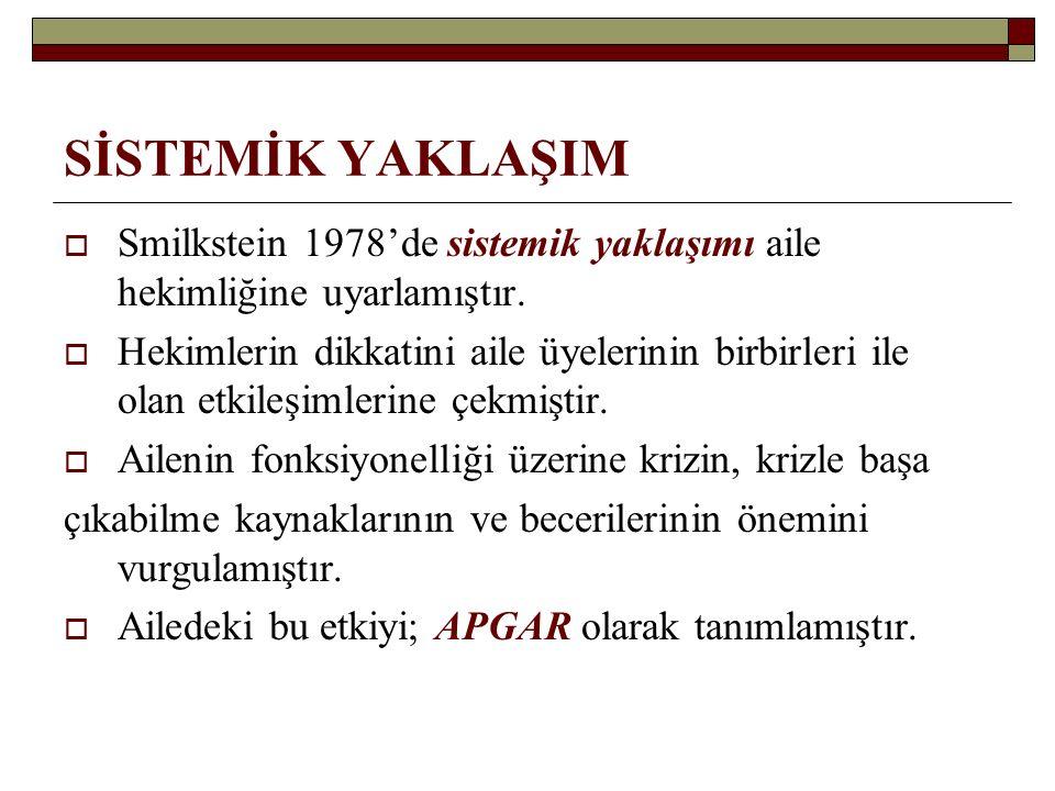 SİSTEMİK YAKLAŞIM Smilkstein 1978'de sistemik yaklaşımı aile hekimliğine uyarlamıştır.