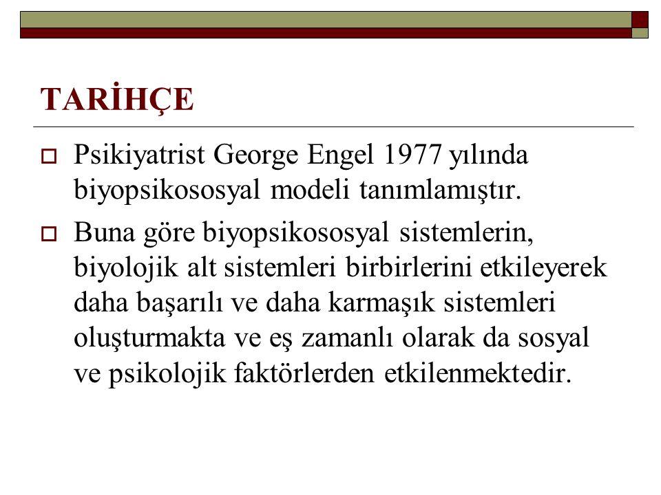 TARİHÇE Psikiyatrist George Engel 1977 yılında biyopsikososyal modeli tanımlamıştır.