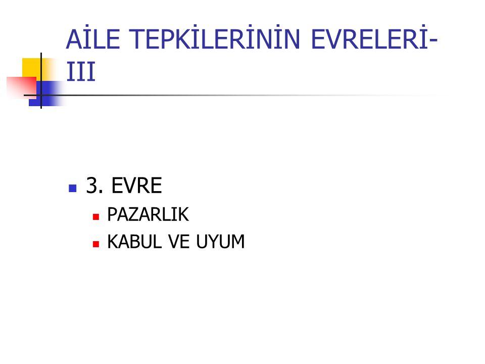AİLE TEPKİLERİNİN EVRELERİ- III