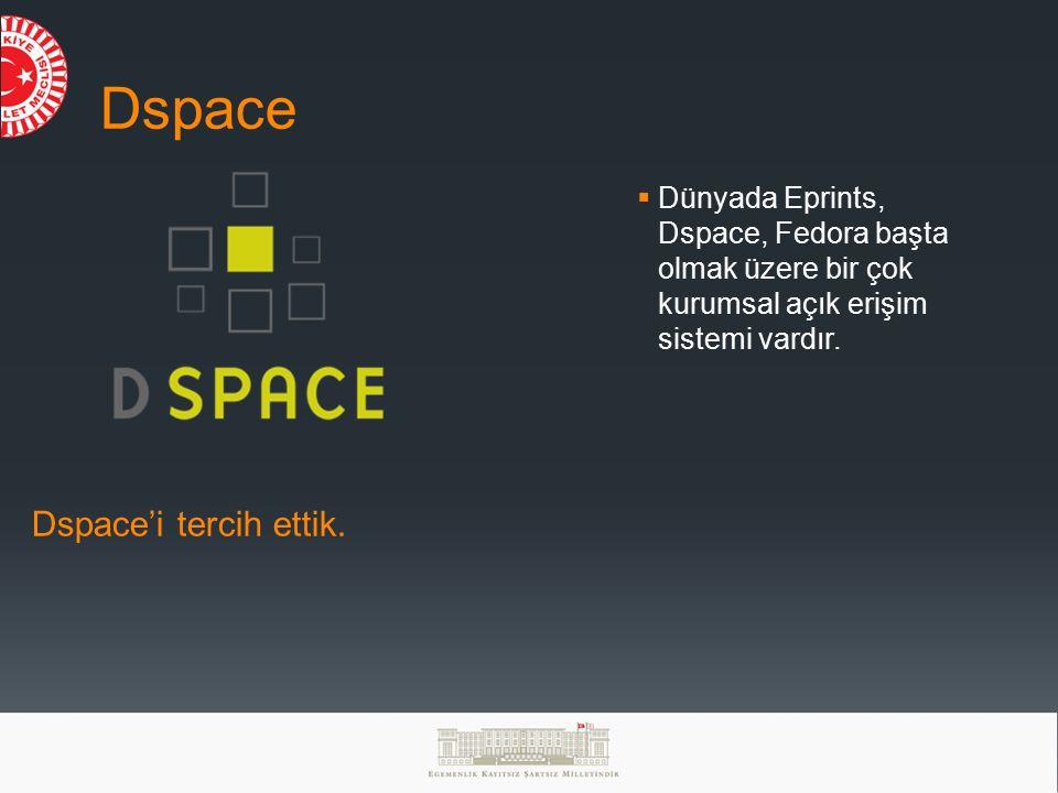 Dspace Dspace'i tercih ettik.