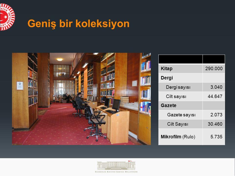 Geniş bir koleksiyon Kitap 290.000 Dergi Dergi sayısı 3.040