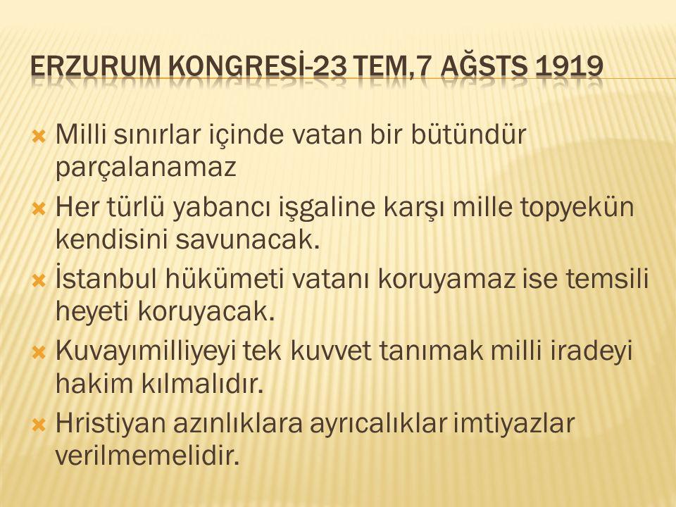 ERZURUM KONGRESİ-23 TEM,7 AĞSTS 1919