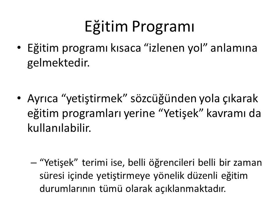 Eğitim Programı Eğitim programı kısaca izlenen yol anlamına gelmektedir.