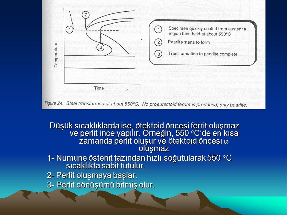 Düşük sıcaklıklarda ise, ötektoid öncesi ferrit oluşmaz ve perlit ince yapılır. Örneğin, 550 C'de en kısa zamanda perlit oluşur ve ötektoid öncesi  oluşmaz