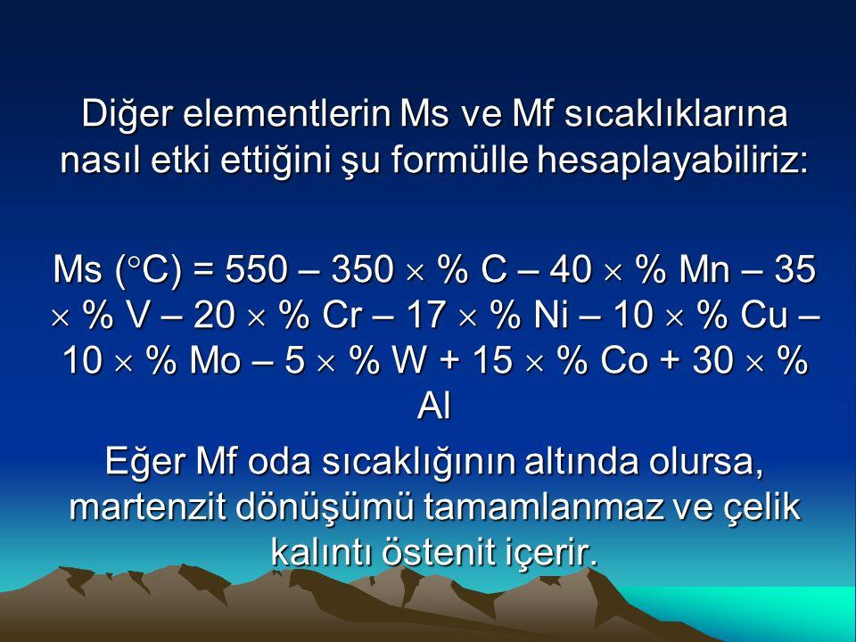 Diğer elementlerin Ms ve Mf sıcaklıklarına nasıl etki ettiğini şu formülle hesaplayabiliriz: