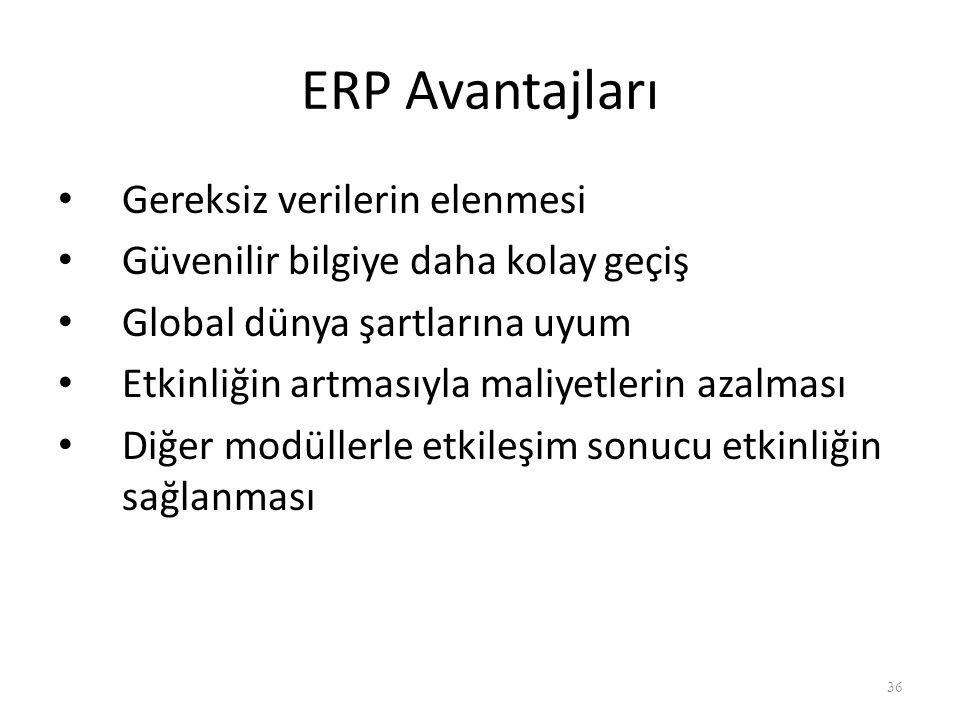 ERP Avantajları Gereksiz verilerin elenmesi