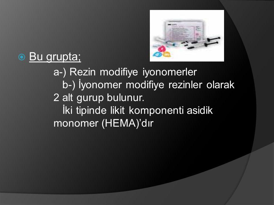 Bu grupta; a-) Rezin modifiye iyonomerler