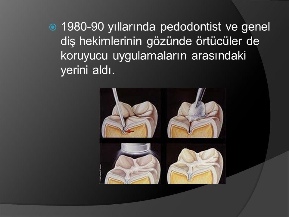 1980-90 yıllarında pedodontist ve genel diş hekimlerinin gözünde örtücüler de koruyucu uygulamaların arasındaki yerini aldı.