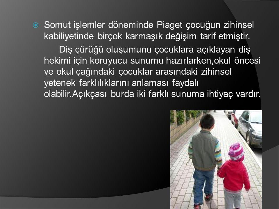 Somut işlemler döneminde Piaget çocuğun zihinsel kabiliyetinde birçok karmaşık değişim tarif etmiştir.