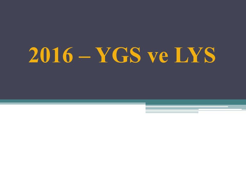2016 – YGS ve LYS