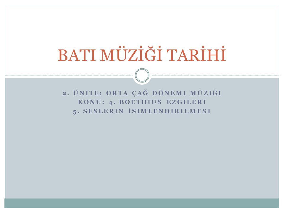 BATI MÜZİĞİ TARİHİ 2. Ünite: Orta Çağ Dönemi Müziği