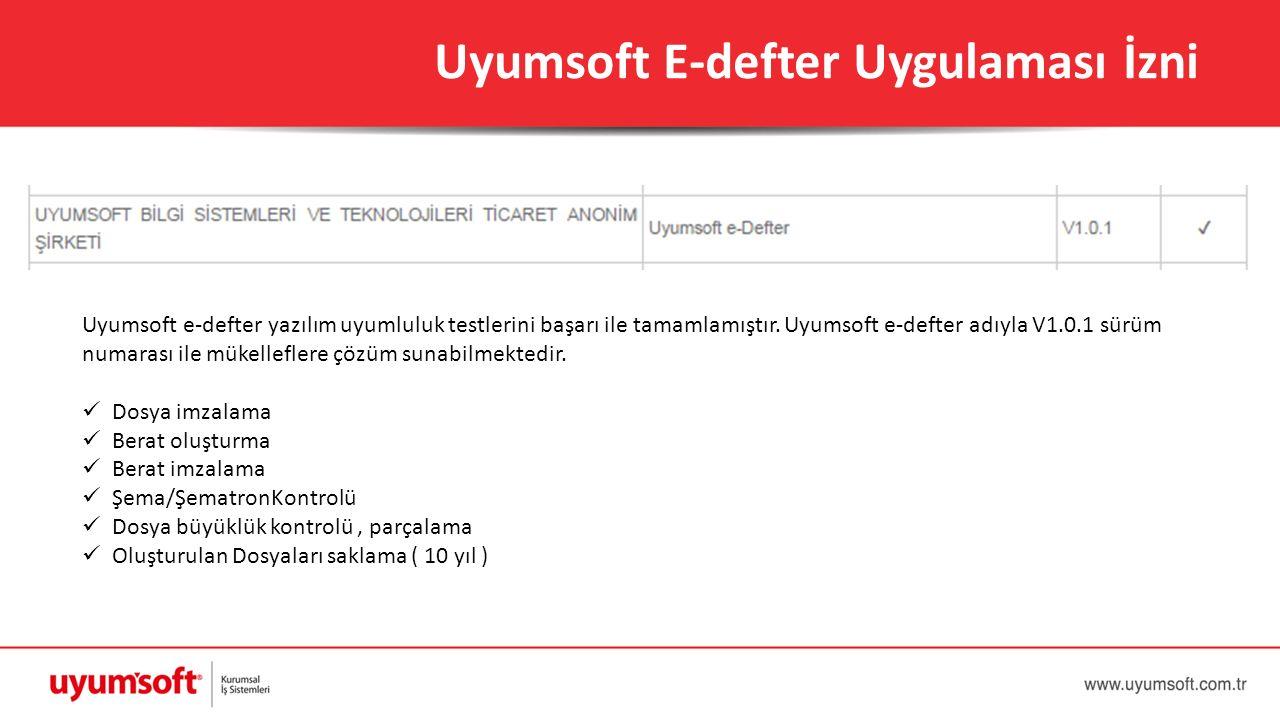 Uyumsoft E-defter Uygulaması İzni